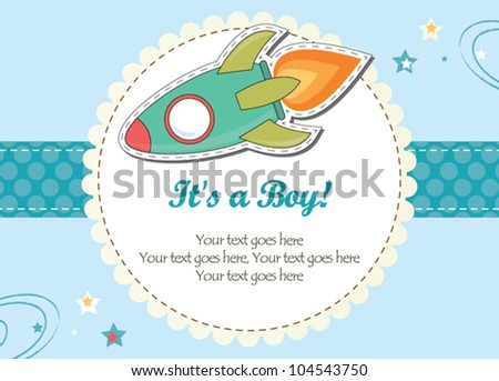 Baby boy rocket ship invitation - stock vector