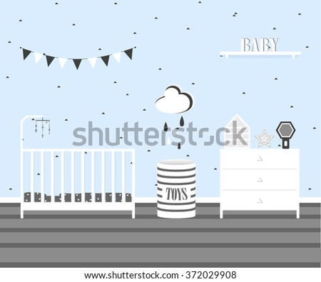 Baby boy room interior design in scandinavian flat style.Monochrome palette children's room.Bed,commode and cute stuff for child.Furniture cartoon for bedroom.vector illustration for children - stock vector