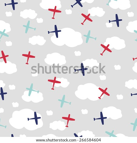 Baby boy seamless pattern with planes - stock vector
