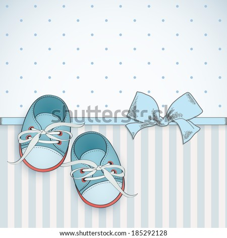 Baby boy shower card. Arrival card with place for your text. - stock vector