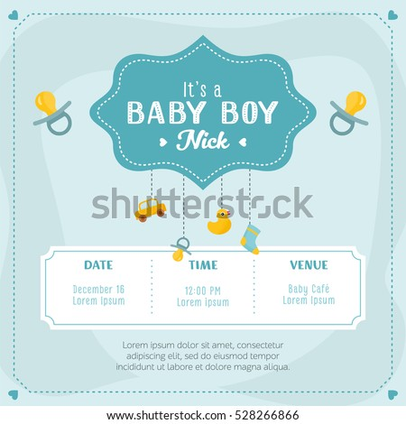 baby boy shower card invitation template stock vector 528266866 shutterstock. Black Bedroom Furniture Sets. Home Design Ideas