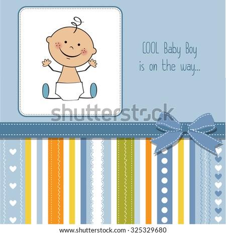 baby boy shower card, vector eps10 - stock vector