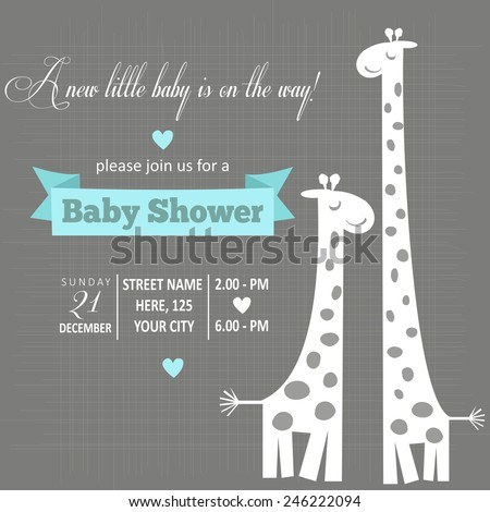 baby boy shower card , vector illustration - stock vector
