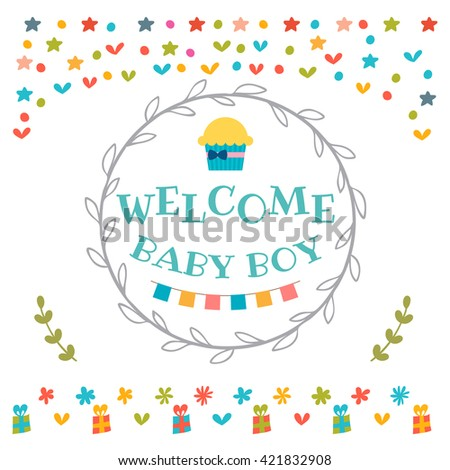 Baby boy shower card. Welcome baby boy. Baby boy arrival postcard. Baby shower greeting card. Vector illustration - stock vector