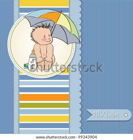 baby boy shower card with funny baby under his umbrella - stock vector