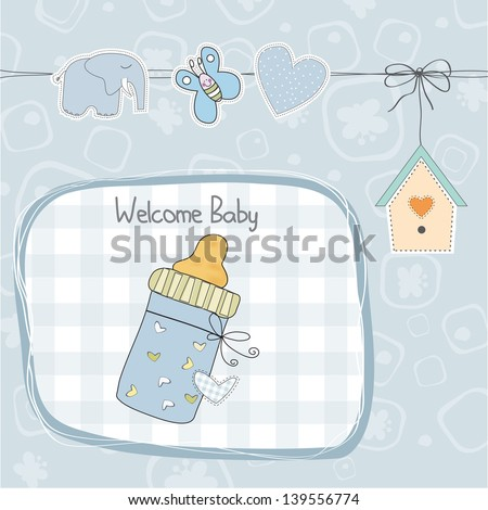 baby boy shower card with milk bottle, illustration in vector format - stock vector