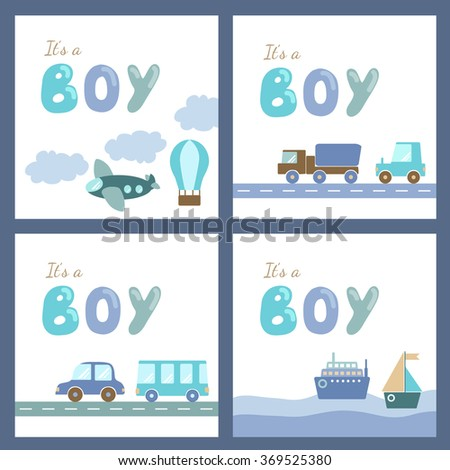 Baby boy shower cards template set. Holiday card design with transport and hand drawn letters. It's a boy postcard. Baby boy greeting arrival card in blue and brown colors. Vector illustration - stock vector