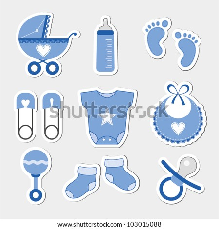 Baby boy shower design icons - stock vector