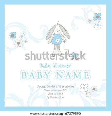 Baby boy shower invitation card - stock vector