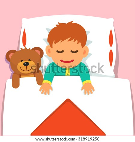 Baby boy sleeping with his plush teddy bear toy. Flat style vector cartoon illustration isolated on pink background. - stock vector