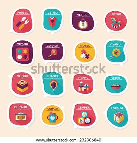 baby bubble speech banner design flat background set, eps10, dummy text