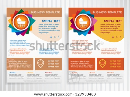 Baby buggy symbol on abstract vector brochure template. Flyer layout. Flat style.