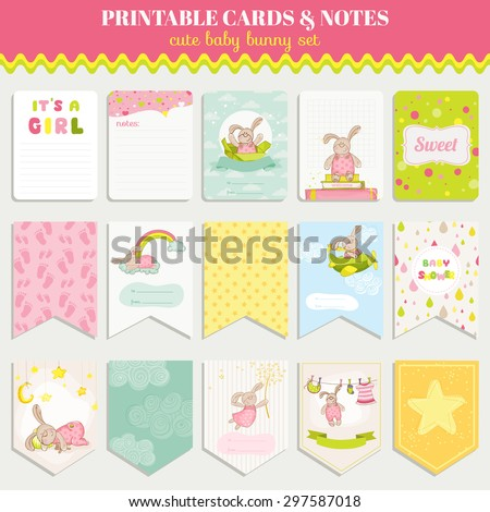 Baby Bunny Card Set - for birthday, baby shower, party, design - in vector - stock vector