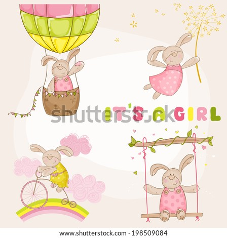 Baby Bunny Set - Baby Shower or Arrival Card - in vector - stock vector