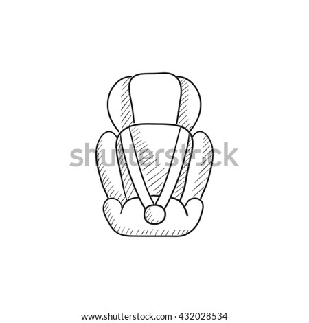 Baby car seat vector sketch icon isolated on background. Hand drawn Baby car seat icon. Baby car seat sketch icon for infographic, website or app. - stock vector