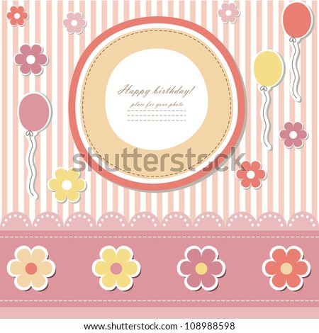 Baby card (vector eps 10). Romantic scrapbooking for invitation, children greeting, happy birthday, label, postcard, children congratulation, postcard, clip art, frame, gift and etc. - stock vector