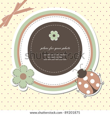 Baby card with ladybird (vector version eps 8) - stock vector