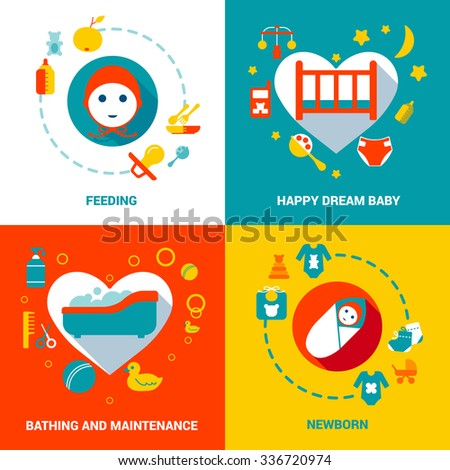 Baby Care Design Concept with products for newborns food sleep bath flat isolated vector illustration - stock vector