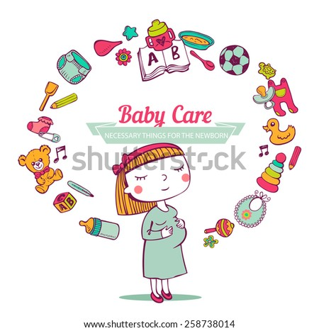 Baby Care frame - stock vector