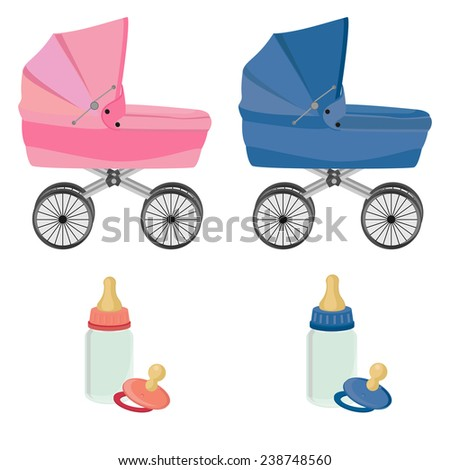 Baby care set,baby carriage, feeding bottle and pacifier, collection, isolated on white - stock vector