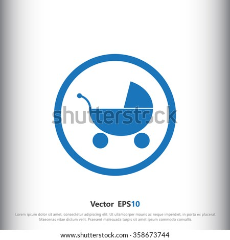Baby carriage icon, sign icon, vector illustration. Baby carriage symbol. Flat icon. Flat design style for web and mobile. - stock vector