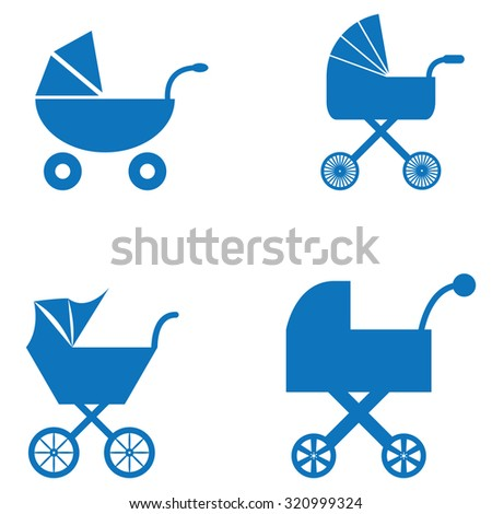 Baby Carriage Icons - stock vector