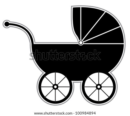 Baby Carriage - Isolated Black and white baby carriage silhouette - stock vector