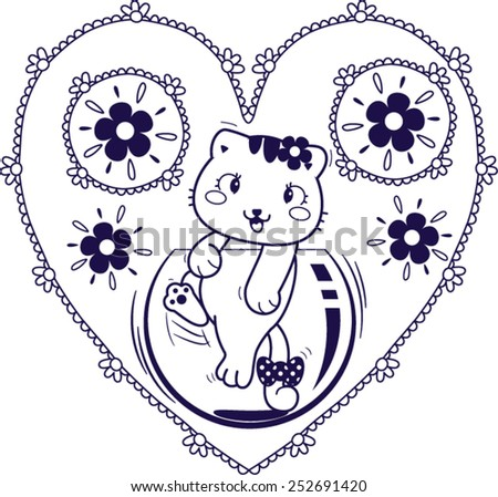 Baby cat play glass bubble in flower frame vector. - stock vector