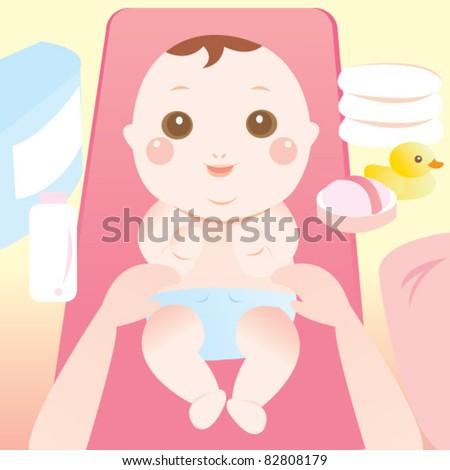 baby changing diaper - stock vector