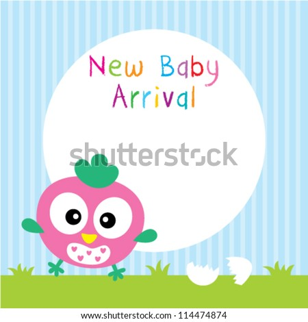 baby chicken arrival greeting card - stock vector
