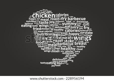 Baby Chicken Shape Food Word Cloud On Blackboard - stock vector