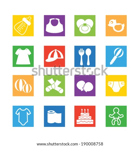 Baby, childhood vector icons - stock vector