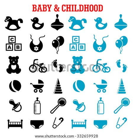 Baby, childish and childhood icons set with blue and black flat icons of toys, diaper, bottle, pacifier, rattle, stroller, cubes, ball, bed, bib, bicycle and rocking horse  - stock vector