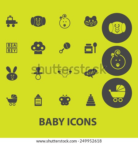 baby, children, kids, toys icons, signs, illustrations on background set, vector - stock vector
