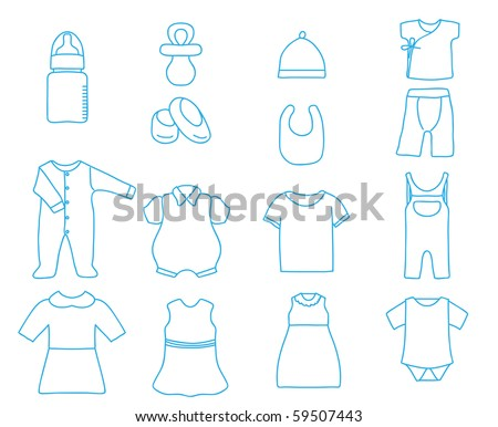 Baby clothes and bottle , vector - stock vector