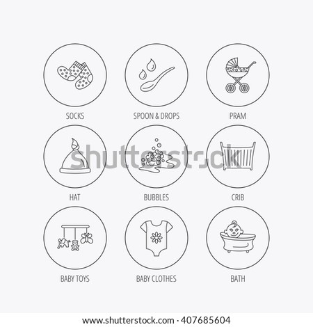 Baby clothes, bath and hat icons. Pram carriage, spoon with drops linear signs. Socks, baby toys and bubbles flat line icons. Linear colored in circle edge icons. - stock vector