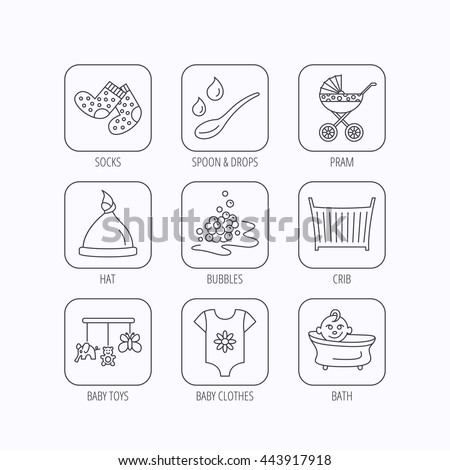 Baby clothes, bath and hat icons. Pram carriage, spoon with drops linear signs. Socks, baby toys and bubbles flat line icons. Flat linear icons in squares on white background. Vector - stock vector