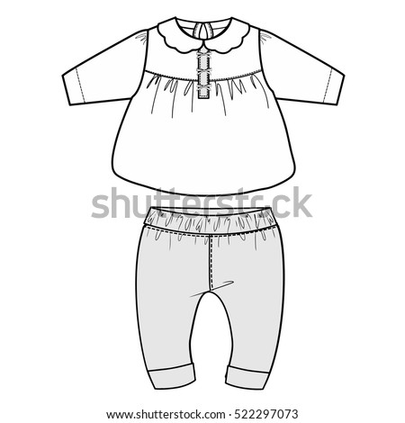 baby clothes flat sketch template isolated stock vector 522297073