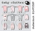 baby clothes icons set on background - stock vector