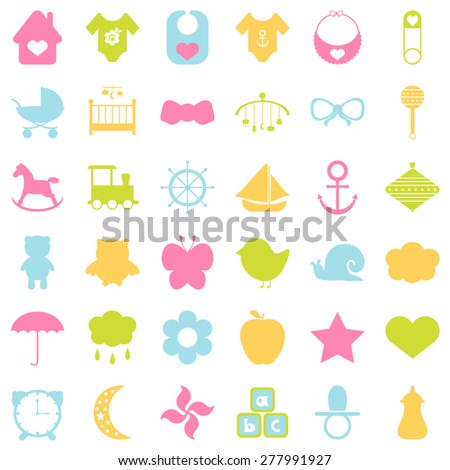 Baby colorful icons set. For cards, invitations, wedding or baby shower albums, backgrounds, arts and scrapbooks. Vector illustration