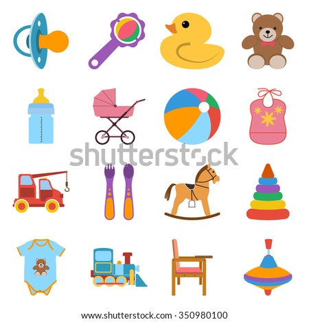 Baby colorful icons set. Icons vector illustration in flat design. - stock vector