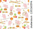 Baby colorful seamless pattern . Little cute pig playing with ball and hula hoop, ride a bicycle, walk on rope. - stock vector