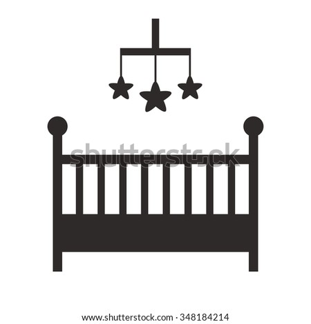Baby crib isolated black silhouette icon on white background. Cot isolated icon. Child room and nursery furniture. Flat style vector illustration.  - stock vector