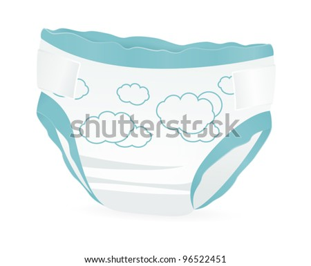 Baby diapers with funny picture on it. Vector illustration on white background - stock vector