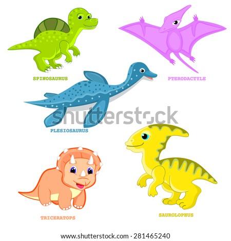 Baby dinosaur set vector illustration Plesiosaur, pterodactyl, triceratops, spinosaurus, saurolophus dinosaur cartoon isolated Fun dinosaur animal vector Cute happy colorful cartoon character vector - stock vector