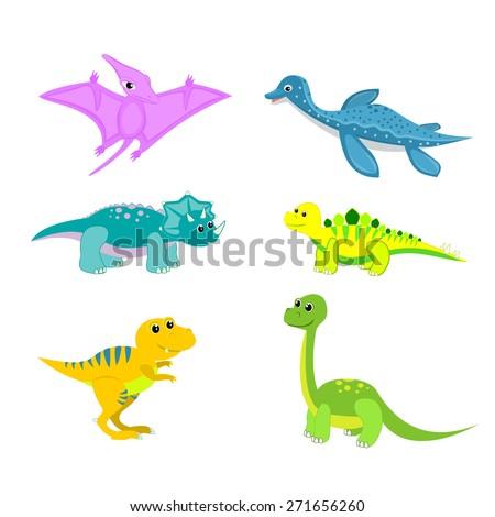 Baby dinosaur set vector illustration Plesiosaur, pterodactyl, triceratops, stegosaurus, tyrannosa dinosaur cartoon isolated Fun dinosaur animal vector Cute happy cartoon character vector illustration - stock vector