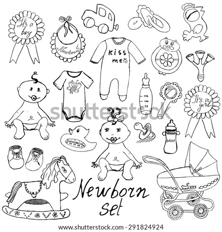 Baby doodle icons, toys, teddy, pram, duckling, cradle, hand drawn sketch vector illustration. isolated on white.  - stock vector