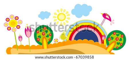 baby drawing - a tree, birds and rainbow - stock vector