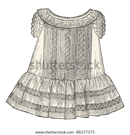 "Baby dress - Vintage engraved illustration - ""La mode illustree"" by Firmin-Didot et Cie in 1882 France - stock vector"
