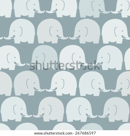 baby elephants blue seamless pattern